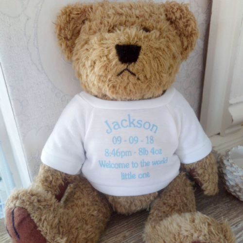 Traditional Welcome To The World Personalised Teddy Bear